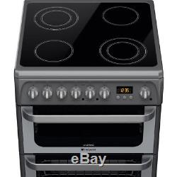 Hotpoint'Ultima' HUE61GS 60cm Electric Cooker Double Ovens, Grill & Ceramic Hob