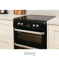 Hotpoint Ultima HUI614K 60cm Electric Cooker with Double Ovens & INDUCTION HOB