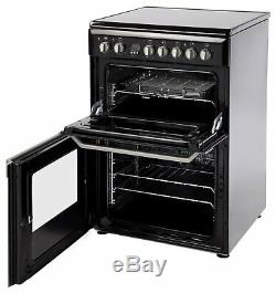 Indesit ID60C2 Free Standing 60cm 4 Ceramic Hob Double Electric Cooker Black