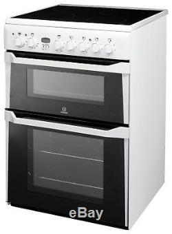 Indesit ID60C2 Free Standing Double Electric Cooker Ceramic 4 Zone Hob White