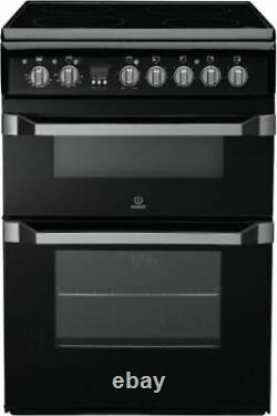 Indesit ID60C2KS 60cm Electric Cooker Double Ovens, Grill & Ceramic Hob