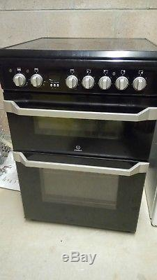 Indesit ID60C2KS 60cm Wide Double Oven Electric Cooker with Ceramic Hob Black