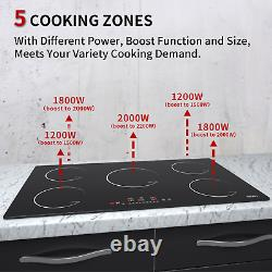 Induction Hob 90cm 5Zone Built-in Touch Controls Satin Ceramic Glass Black 8600W