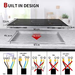 IsEasy 90cm 5 Zone Induction Hob, Built-in, Touch Controls, Black, Child Lock, Timer