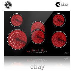 IsEasy LT5-02 77cm 5 Zone Electric Ceramic Hob Built-in Touch Control Black