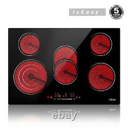 Iseasy Embedded Electric Ceramic Hob Five-Zone Touch Control with Child Lock UK