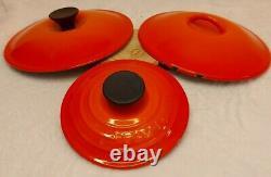 Le Creuset 4 Piece Cast Iron Set Volcanic Orange 2 Pots 1 Pan & 1 Casserole Dish