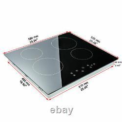 Loefme 60cm Satin Black Touch Control 4 Zone Electric Ceramic Hob Touch Controls