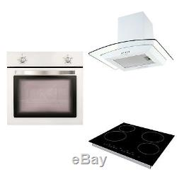 Matrix White Electric Fan Oven, Cookology Ceramic Hob & Curved Glass Hood Pack