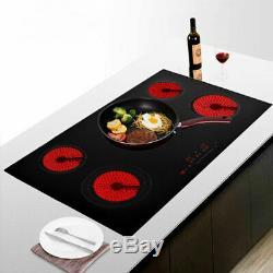 Modern 90cm 5 Zone Electric Ceramic Hob Frameless Touch Control in Black