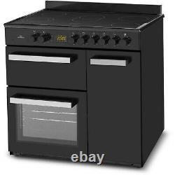 New World 90cm Triple Cavity Electric Range Cooker with Ceramic Hob Black