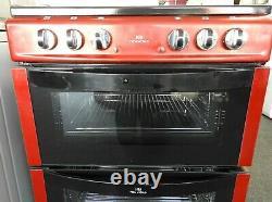New World NW601EDO 60cm Double Oven Electric Cooker Ceramic Hob Metallic Red