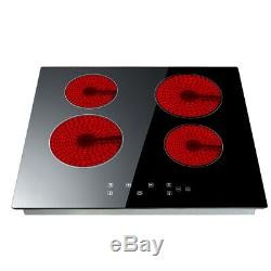 Panana High Power 6000W 60cm Touch Control 4 Zone Electric Ceramic Hob Black UK