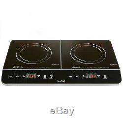 Portable Electric 2 Double Ring Digital Ceramic Induction Hob Cooker Led Black