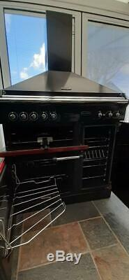 RANGEMASTER Classic 90 Ceramic Cooker and Canopy Hood, Cranberry/Chrome/Black