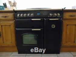 Rangemaster Classic 90 Electric Ceramic Hob 90cm Range Cooker Black/Brass