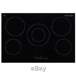 Russell Hobbs RH77EH6001 77cm Wide 5 Burners Ceramic Hob in Black Glass