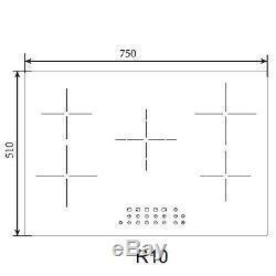 SIA 75cm 5 Zone Black Touch Control Ceramic Hob In Black 99Min Timer