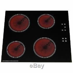 SIA CERH60BL 60cm 4 Zone Touch Control Electric Ceramic Hob In Black
