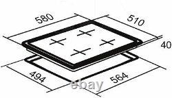 SIA CHC601BL 60cm 4 Zone Touch Control Electric Ceramic Hob In Black