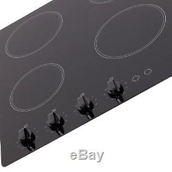SIA CHK60BL Black 60cm 4 Zone Knob Control Frameless Electric Ceramic Hob