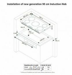 Sharp KH-9I26CT00 90cm 5 Zone Built-In Ceramic Electric Induction Hob