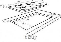 Sharp KH9I26CT00 90cm Induction Hob 5 Zone, Touch Control in Black Ceramic Glass