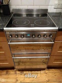 Smeg 60cm ceramic hob, electric grill & oven, used, includes extractor hood