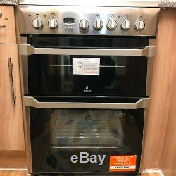 Used INDESIT ID60C2XS 60CM DOUBLE OVEN ELECTRIC COOKER CERAMIC HOB STAINLESS