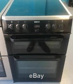 Wd1588 black & stainless steel beko 60cm double oven ceramic hob electric cooker