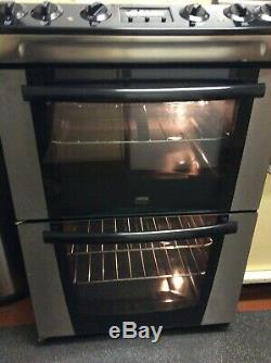 Zanussi ZKC6040X Freestanding Electric Cooker, Double Oven, Ceramic Hob 60cm
